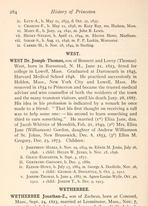 page from the town history of princeton
