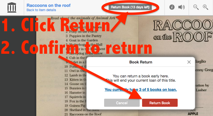 screenshot of where the return link is