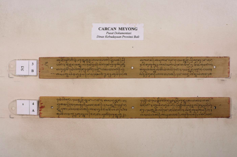Photograph of lontar leaf from Carcan Meyong (a taxonomy of cats) on PalmLeaf.org