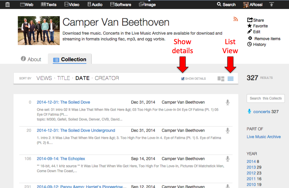 "Go to list view for a collection and click the ""Show details"" checkbox"