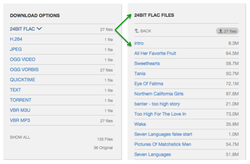 New Download Options feature, illustrating how to display individual files