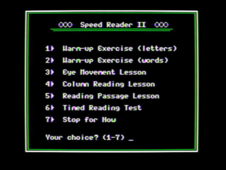 Speed Reader II 091286 screen 3 - main menu