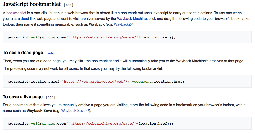 wikipedia wayback bookmarklet