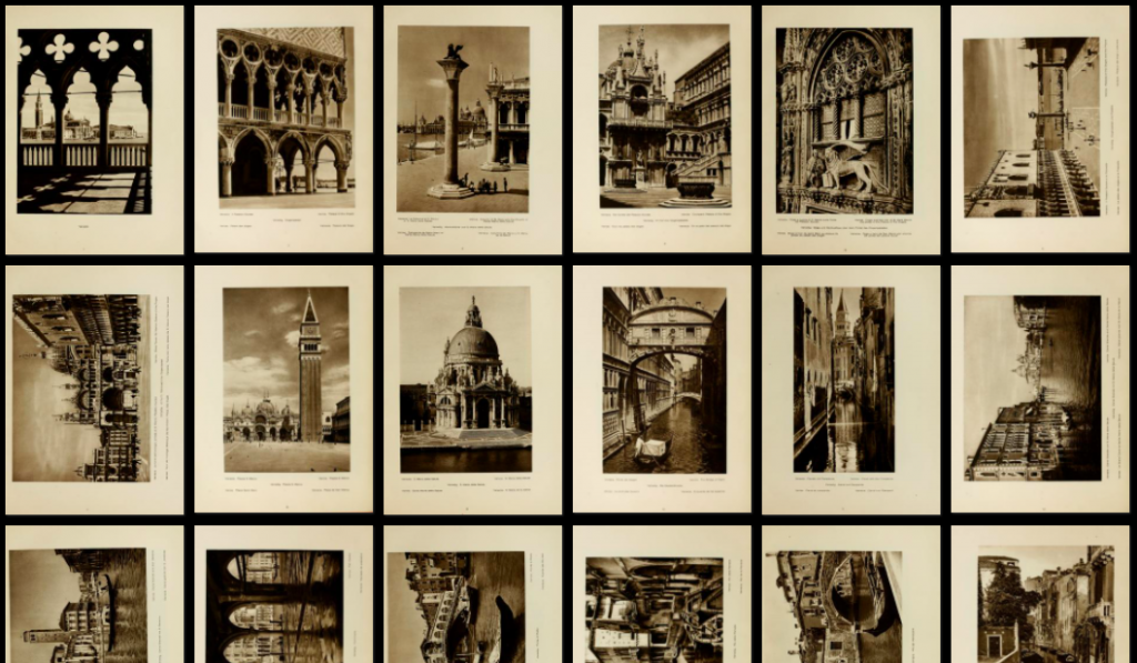 Screen shot thumbnail images from the book Picturesque Italy. The 12+ photos feature tourist sites in Venice, Italy like the Doges Palace, the Bridge of Sighs, and Piazza San Marco.