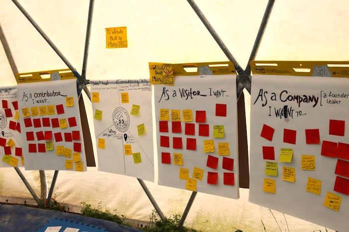 "Notes from a brainstorming session at DWb Camp 2019. Red and yellow post-its are scattered across poster papers that say ""As a contributor I want..."", ""As a visitor I want..."" and ""As a company I want..."""